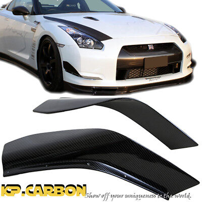 Front Bumper Canard Splitter For Nissan 08-11 R35 GTR AS Style Carbon Fiber 2Pcs
