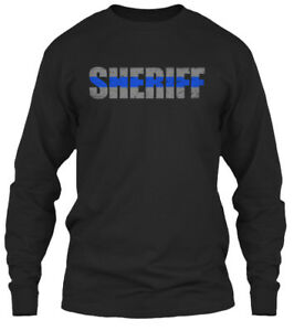 Sheriff-Thin-Blue-Line-Gildan-Long-Sleeve-Tee-T-Shirt