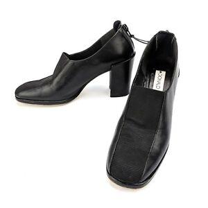 Donald-J-Pliner-Black-Elastic-Zip-Back-Chunky-Pumps-Heels-Crepe-Sole-Size-6-M