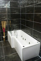 L Shape Whirlpool Showerbath Jacuzzi Style Jets With Square Bath Screen Chrome