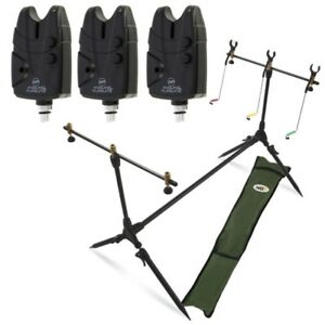 Carp-Fishing-Pod-amp-Alarms-With-Swingers-3-Bite-Alarms-3-Rod-Rests-amp-Bag-NGT