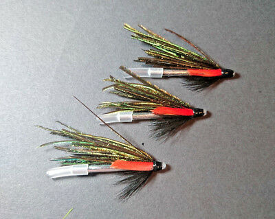 Pack of 3  Black//Chartreuse Brass tube flies Salmon//Sea Trout flies