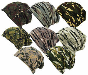 Unisex Soft Feel Jersey Camouflage Slouch Beanie Neck Warmer Army Camo Cap