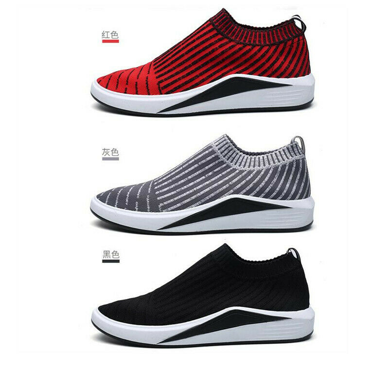 US7-10 Men's Low Top Pull On Athletics Sports Casual Outdoor Running Sock shoes