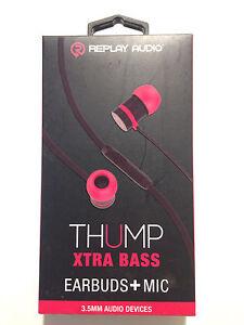 01a1daaf3de Replay Audio RPA-SHF10 Thump Xtra Bass Earbuds + Mic 847181043330 | eBay