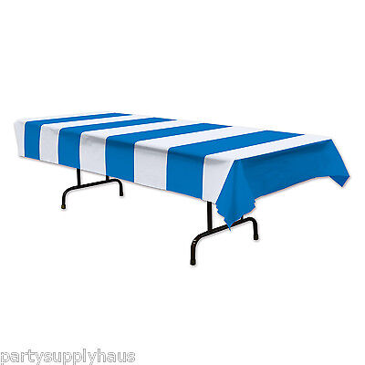 CARNIVAL Circus Tent BLUE & WHITE STRIPE TABLE COVER Party Decoration PIRATE