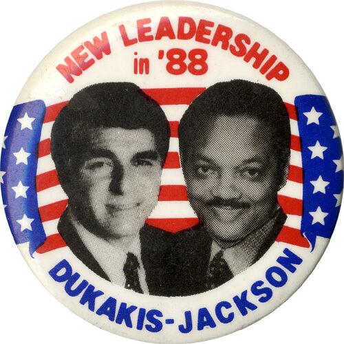 1722 1988 Michael Dukakis Jesse Jackson Dream Ticket Jugate Button