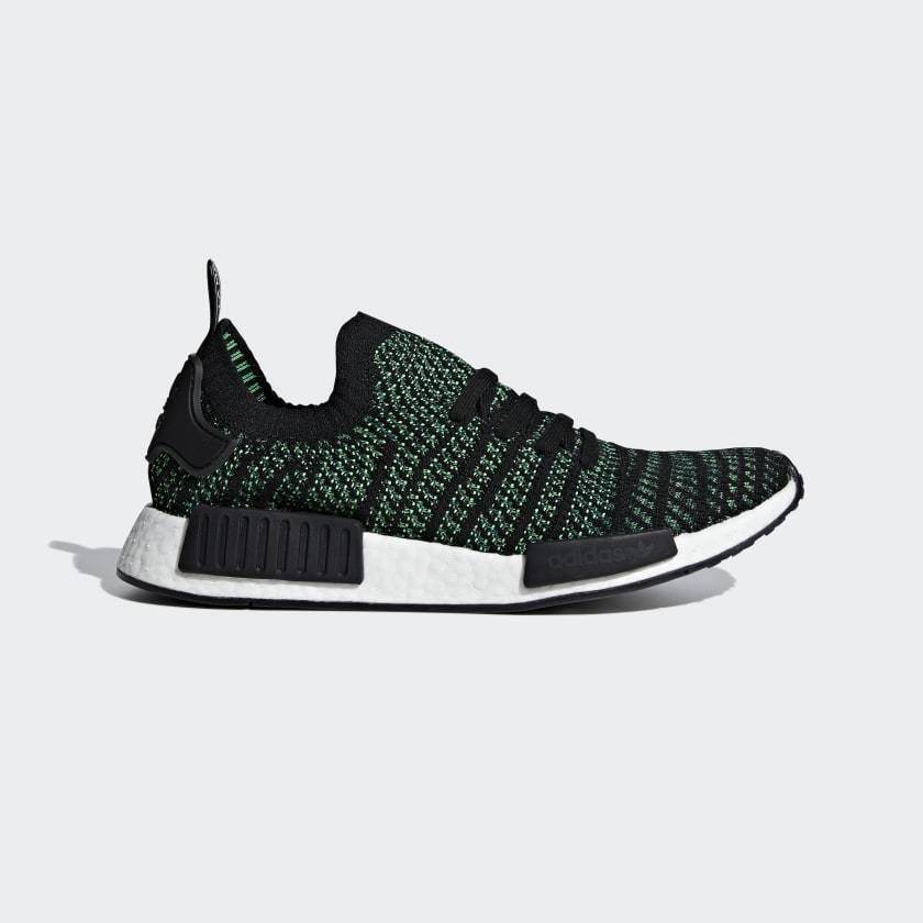 Adidas NMD R1 STLT PK Primeknit Casual shoes Black   Green Sz 8.5 AQ0936