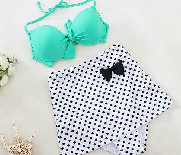 Green Color Retro Vintage High Waist Polka Dots Bikini Set Top+Bottom Swimsuit