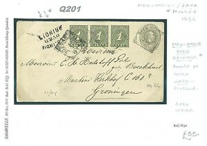 DBQ201 1894 NED INDIES OVER BRINDISI Soerabaya Maritime Cover Uprated Stationery
