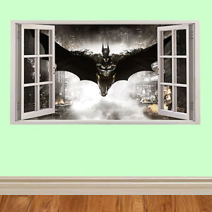 batman fliegende 3d fenster kinder wandaufkleber f r schlafzimmer autos m bel ebay. Black Bedroom Furniture Sets. Home Design Ideas