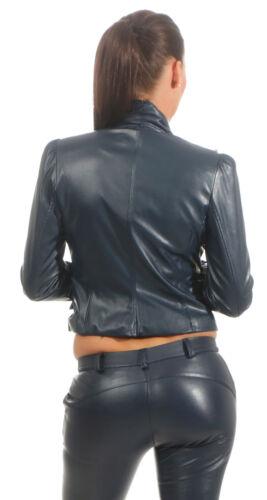 Tara Wera Donna Pantaloni Skinny Ecopelle Pantaloni Pantaloni Pantaloni Pelle Look Hüfthose Blu S-XL