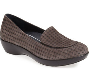 Dansko Debra Houndstooth Womens Grey Suede Slip On Loafers Euro Sz 36 1092