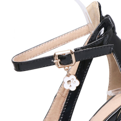 Details about  /Womens Ankle Strap Pumps Patent Leather Pointed High Heel Stiletto Shoes US Size