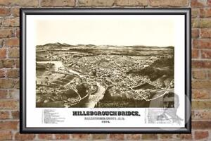 Vintage-Hillsborough-Bridge-NH-Map-1884-Historic-New-Hampshire-Art-Industrial