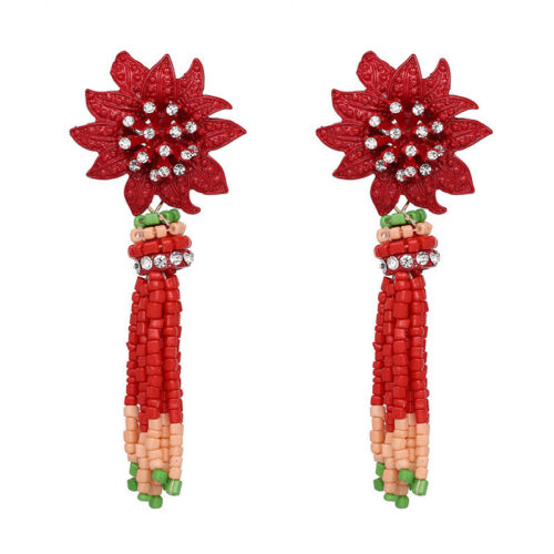 Ohrringe Ohrstecker Blume Indianerschmuck Perlen rot rosa grün Kristall weiß