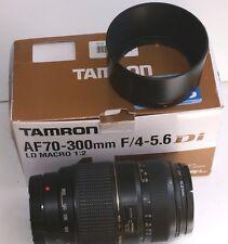 Zoom TAMRON LD macro (1:2) 70/300 mm, notices, pare soleil, caps.NEUF en boîte,