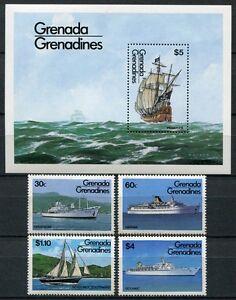 Grenada-Grenadinen-1984-Schiffe-Ships-Navi-Bateaux-611-614-Block-82-MNH
