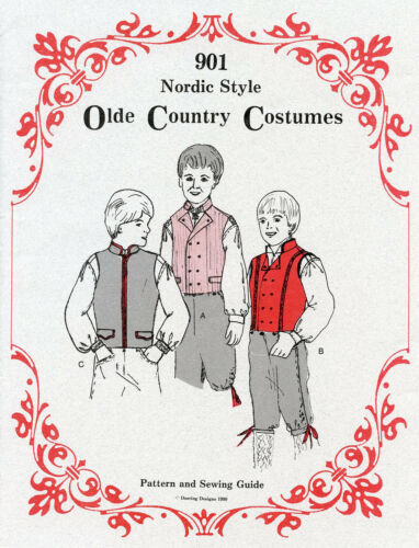 Boys Nordic Style Vest 4-14 Olde Country Costumes Sewing Pattern 901 Scandinavia