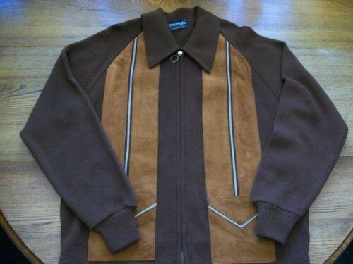 Mens Brown Suede Rockabilly Sweater Cardigan Jacke