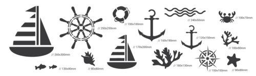 14 x wiederverwendbare Kunststoff-Schablonen //// ANKER SCHIFF //// 34cm bis 8cm