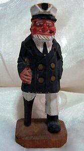 Details About Vintage Hand Carved And Painted Wooden Peg Leg Sailor Captain Statue Figurine