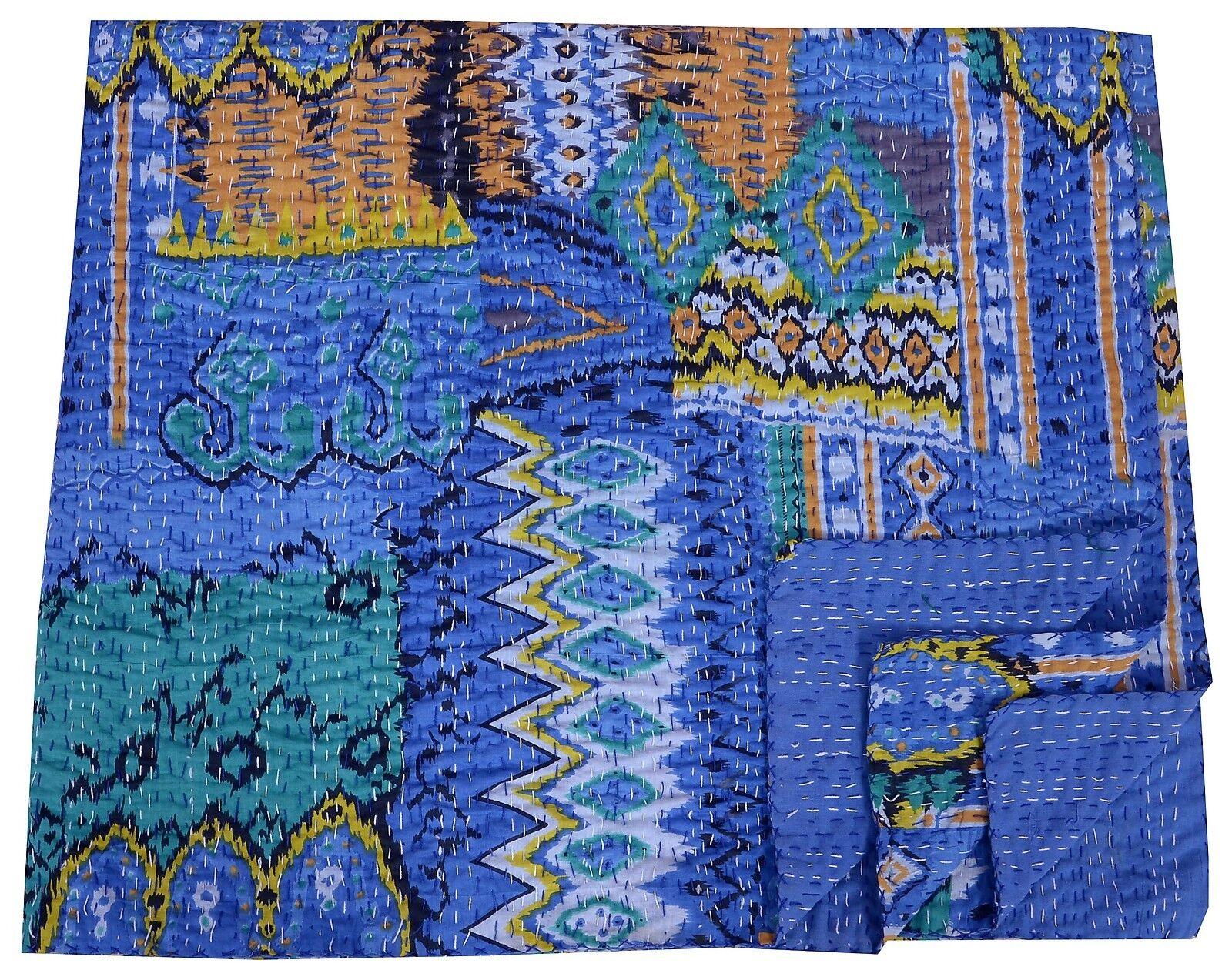 Indian Handmade Ikat Gudari bluee Queen Size Kantha Quilt Throw Bedspread Blanket
