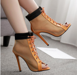 Details about Women's High Top Summer Peep Toes Mesh Ankle Boots Hollow Out Lace Up High Heels