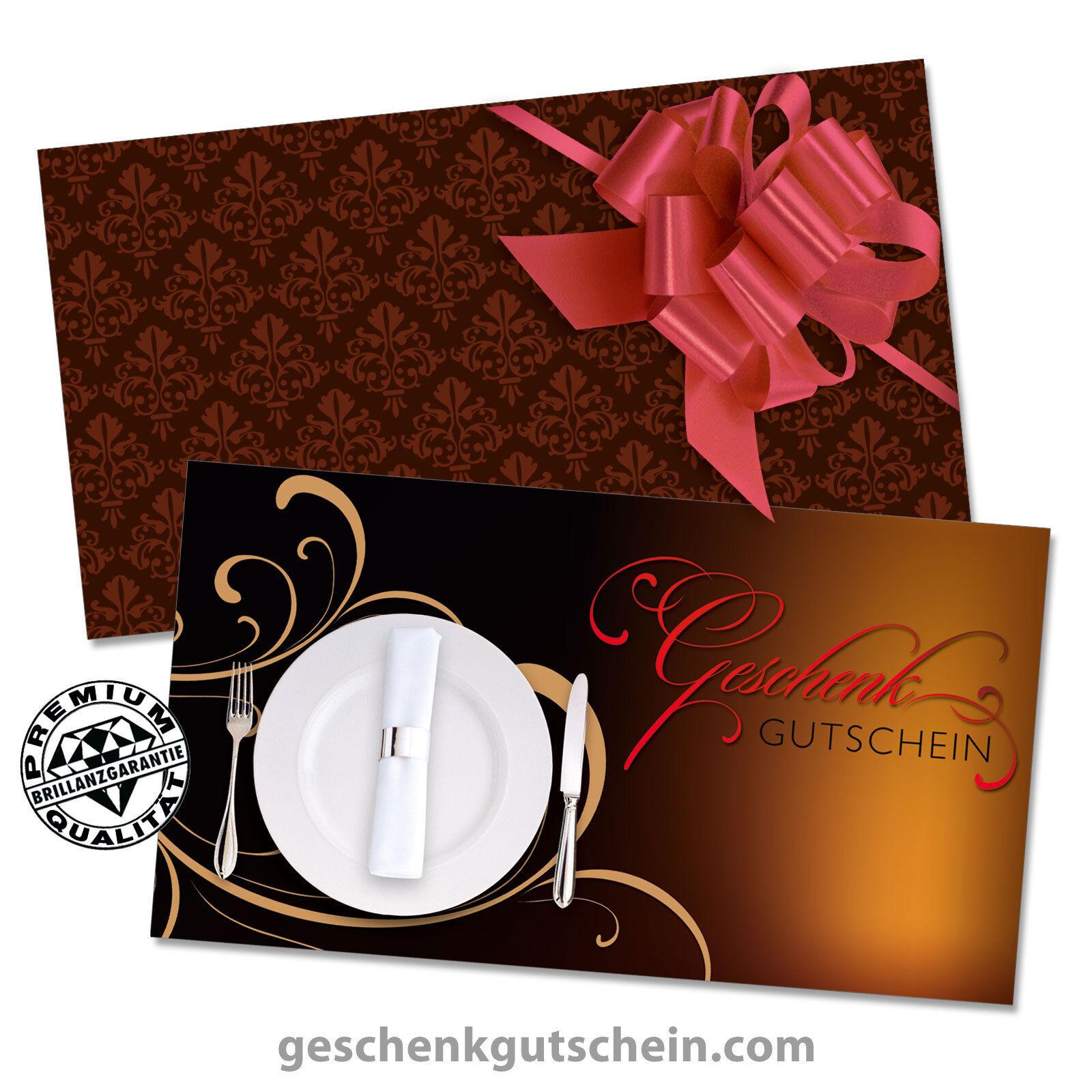 Gutscheinkarten Standard mit KuGrüns und Schleifen für Restaurant Gasthaus G1289
