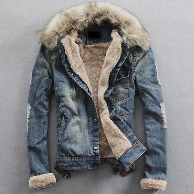 New Men's Slim Trendy Fur Collar Denim Washed Jean Jacket Thicken Coat Outerwear
