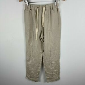 Unbranded-Womens-Linen-Pants-S-M-Beige-Straight-Elastic-Waist-Pockets