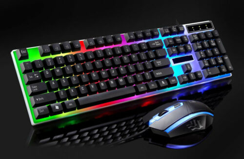 Adjustable LED Rainbow Color Backlight Gaming Game USB Wired Keyboard Mouse Set