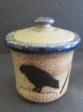 Monroe Salt Works MSW CROW ON CORN COB Garlic Keeper With Lid HTF Maine