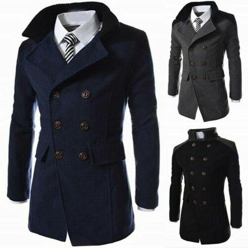 Men/'s Vintage Trench Coat Double Breasted Pea Coat Winter Jacket Overcoat Tops