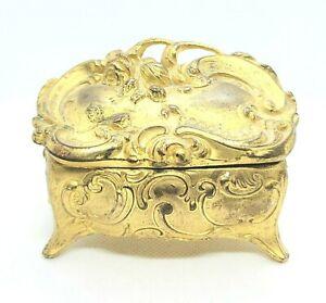 Antique Gold Foral Bijoux Cercueil Boîte Art Nouveau Edwardian Victorienne Déco