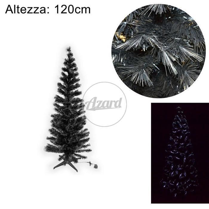 Albero natale noir fibra ottica 180 cm led bianco