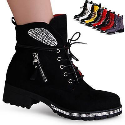 Damen Plateau Stiefeletten Worker Boots Velours Stiefel Gefüttert