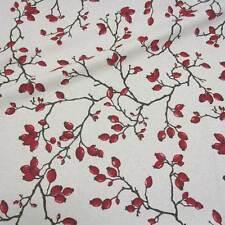 Stoff Baumwolle Meterware natur Hagebutte rot aus Frankreich Dekostoff Kleidung