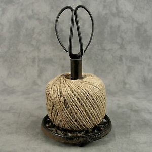CAST IRON TWINE HOLDER SCISSORS & STRING for KITCHEN OR CRAFTS ~FRENCH COUNTRY~