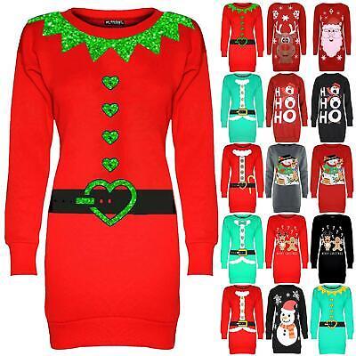 Womens Ladies Snowfall Christmas Xmas Elf Candy Sticks Tunic Sweatshirt Dress