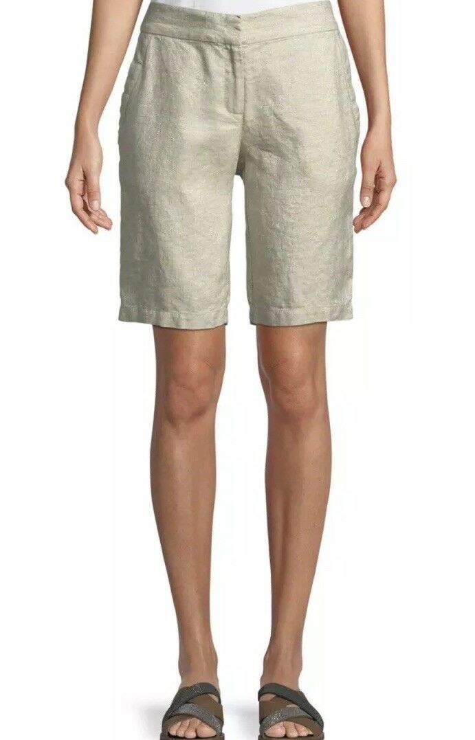 Eileen Fisher Womens Shorts Size 14 Twinkle Organic Linen