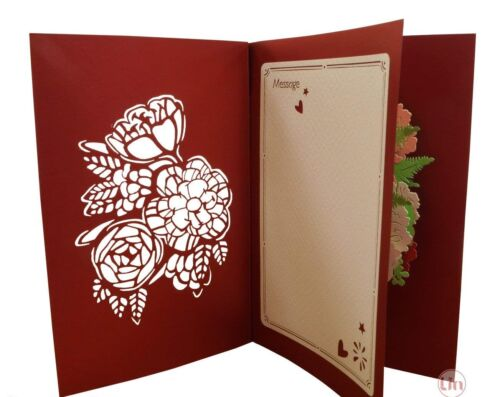 POP UP 3D Klappkarte Blumen-Korb *Rosen* Muttertag Glückwunschkarte Geburtstag