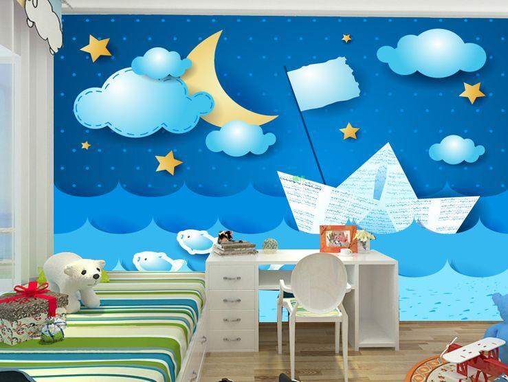 3D Origami Boat0983 Fototapeten Wandbild Fototapete Bild Tapete Familie Kinder