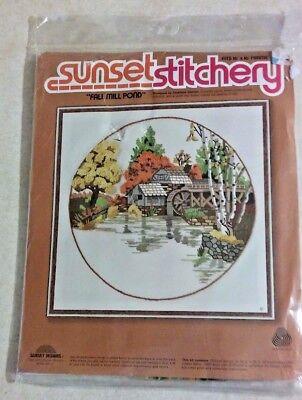 Vintage  1979 Sunset  Designs wallhanging crewel work  Brookside Vignette