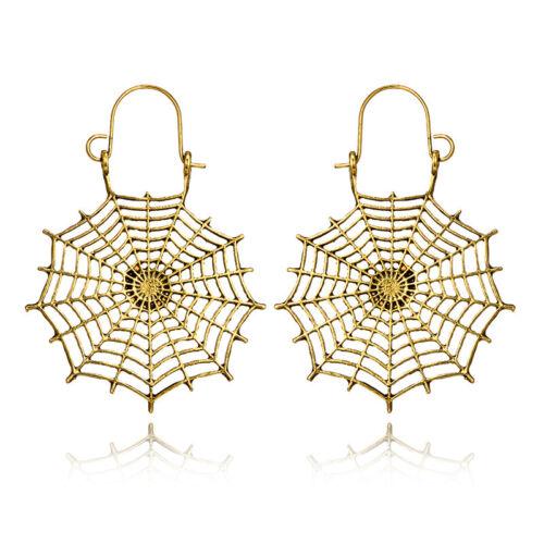 1 Pair Women Geometric Hollow Spider Mesh Alloy Ear Hoop Earrings Jewelry