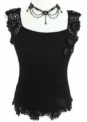 Romantic Goth BLACK LACY CROCHET TOP Vamp DARK ANGEL Mori PARTY Cocktail 8-10