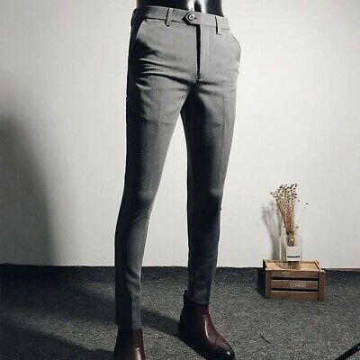Chic Mens Slim fit Stretchy Skinny Pants Mid Rise Dress fashion pencil trousers