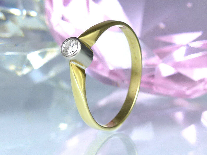 Ring in in in 585 - bianca giallooro mit 1 Diamant 0 10 ct. Wesselton Vsi Top Zustand 4f7981