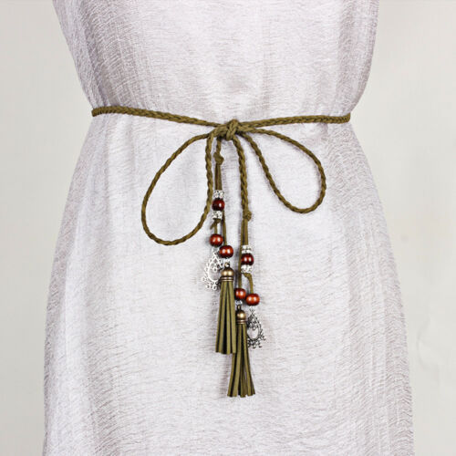Frauen Lady dünn geflochtene Gürtel Kleid Knoten Kunstleder Quaste Taillengürtel