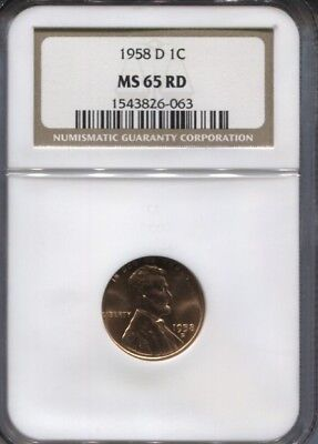 1958-D LINCOLN WHEAT CENT PENNY 1c NGC MS65RD